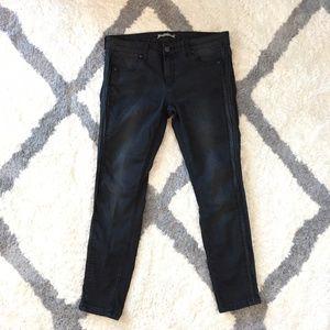 Free People Skinny Crop Jeans Black w/ Leather 31