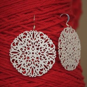 White Lace Filagree Earrings