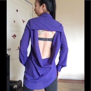 NWOT Foreign Exchange Purple Open Back Blouse