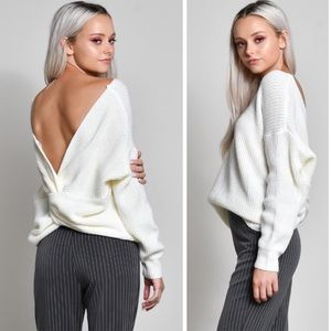 Tops - Off White Back Twist Sweater