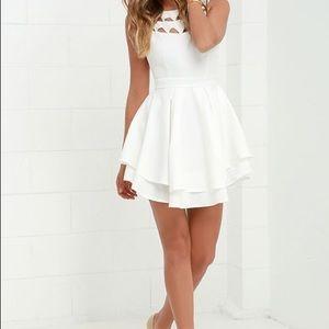 Lulu's Ivory Flirty Skater Style Dress