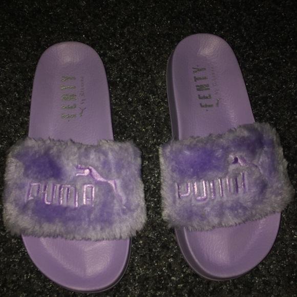 hot sale online 452ea e42ec Purple Fenty Slides NWT