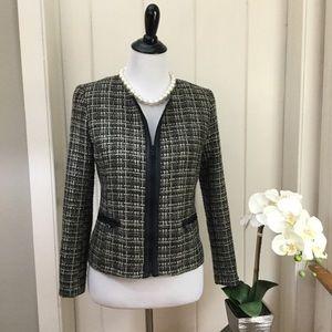 BANANA REPUBLIC Nubby Grey Tweed Zipper Jacket
