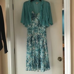 Dress with separate lightweight jacket/sweater.
