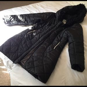 Dylan Black Long Down Coat Size Medium