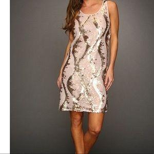 Rose gold matte sequin dress