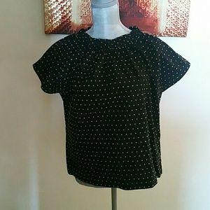 New Kate Spade black short sleeve blouse M