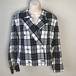 Vintage 80s plaid double breast boxy crop blazer