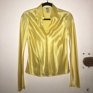 Canary Yellow 100% Silk Blouse