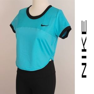 DriFit Epic Crew Aqua Blue Cropped Mesh Top 402/3