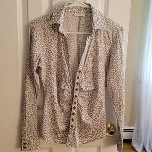 Long Sleeve Animal Print New York & Co Button-up