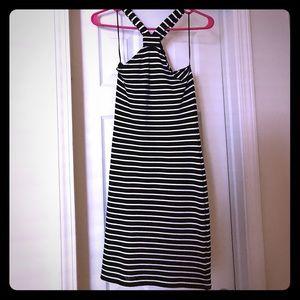 NWT Topshop Black White Striped Dress US 8 U.K. 12