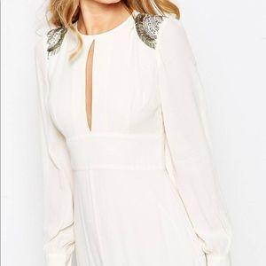 Asos long sleeved white maxi dress