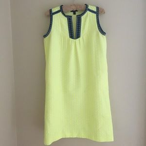 J Crew Neon Yellow Embroidered detail shift Dress