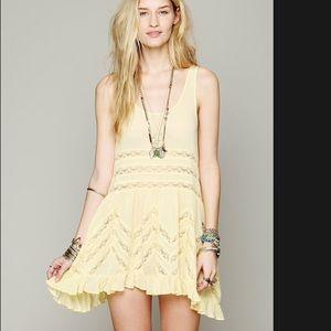 Free People yellow viola and lace trapeze dress
