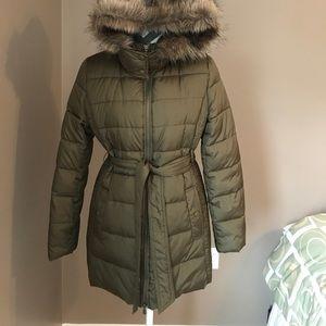 Olive green long puffer coat