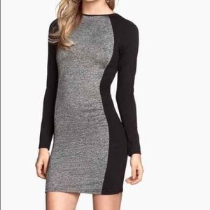 Black and Silver Long Sleeve Dress