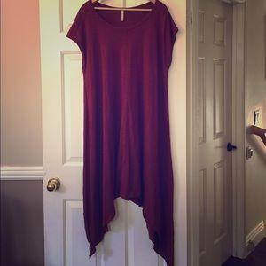 Love In Maroon Oversized Boho Tee Shirt Dress L