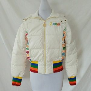 Coogi white puffy coat with removable sleeves