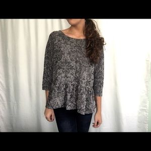 Free People gray floral top