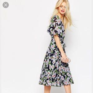 Asos floral dress midi pleated size us 6