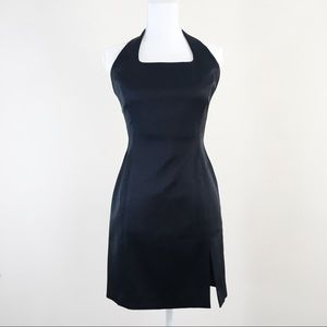 Cache Black Halter Sateen Mini Dress Size 6