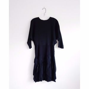 Vintage 80s Betsy & Adam Black Ruffle Dress est 4