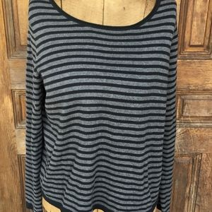 Eileen Fisher Gray and Black Striped Sweater