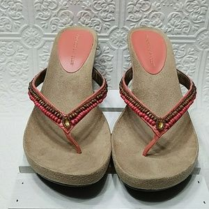 EUC Montego Bay beaded wedge thong sandals