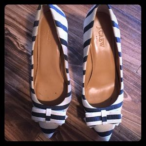 Jcrew blue stripe heels with bow