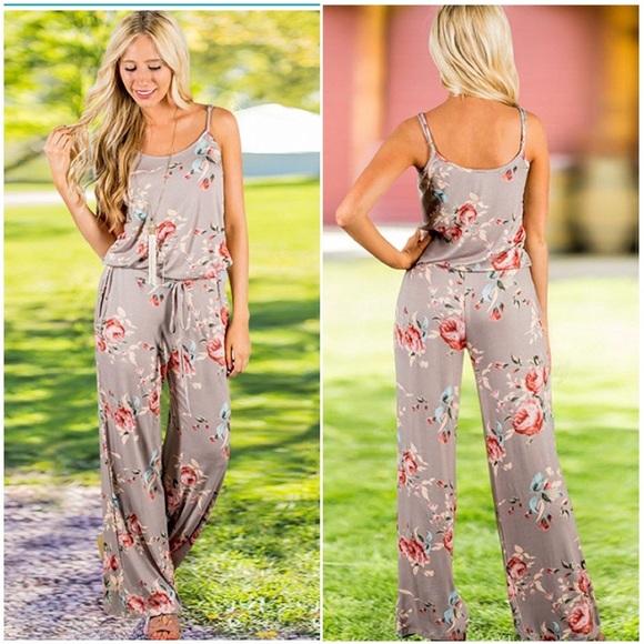 8014b53801a NEW Floral Print Halter Sleeveless Jumpsuit Romper