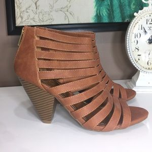 Brown Caged Gladiator Heels Size 7.5