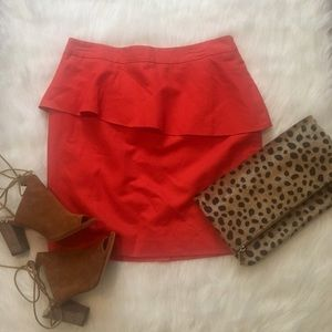 Bright Orange Slanted Peplum Skirt