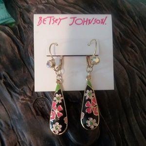 Betsey Johnson enamel black pink drop earrings