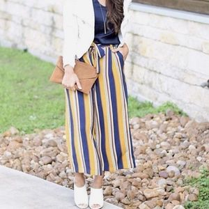 Zara Cropped Pants Striped Culottes