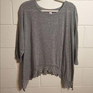 Grey Lace Hem Sweater