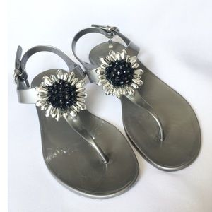 Coach Hilda Silver Jelly Sandals