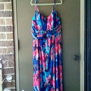 JESSICA SIMPSON BLUE & PINK FLORAL MAXI DRESS