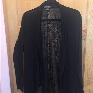 Forever 21 black lace back cardigan XL
