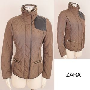 Quilted Jacket Leather Nylon Hoodie Olive Coat 448