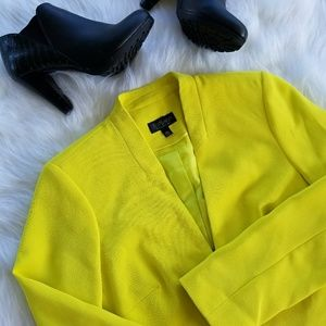 TOPSHOP neon yellow cropped blazer