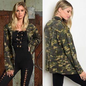 Jackets & Blazers - 🆕 Camo Army Long Sleeve Olive Utility Jacket