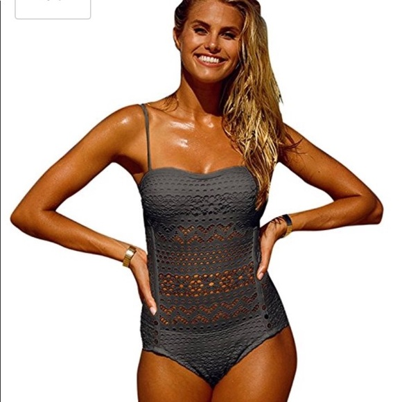 c559b03609658 NWT mesh Charcoal Grey one Piece Swimsuit