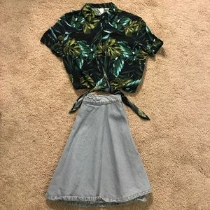 American Apparel Circle Skirt and Tie Top