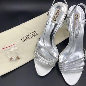 Badgley Mischka Silver Strappy Heels EUC