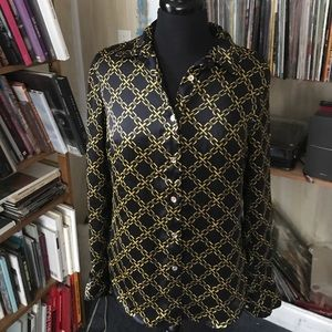 Michael Kors chain link gold and navy Blouse six