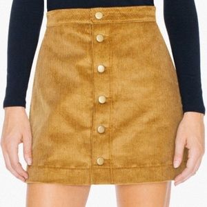 american apparel corduroy button up skirt