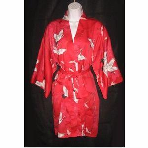 VTG Japanese Kimono Robe Red Black White Cranes