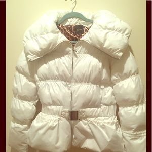 Express Ski Parka in white, with cinched waist