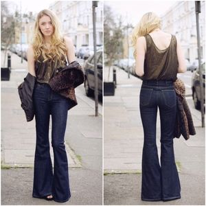Current/Elliott Dark Blue Bell Wide Flare Jeans